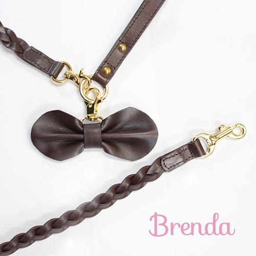 【Brenda】リード ブラウン 首輪S~M用