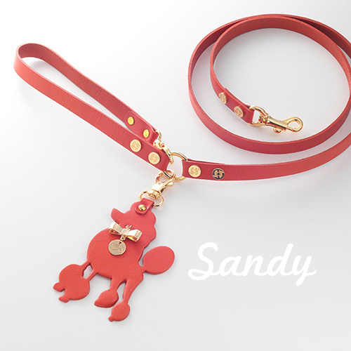 【Sandy】リード ブラウン 首輪S,M用