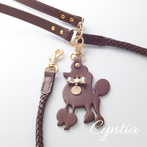 【Cyntia】リード チョコレートブラウン 首輪S,M用