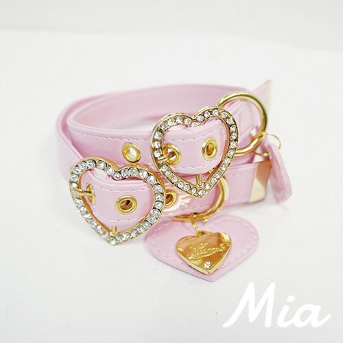 【アウトレット】【Mia】首輪 ベビーピンク(金具ゴールド) M~XL