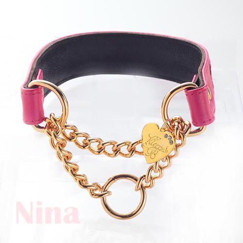 【Nina】首輪 ショッキングピンク×ブラック L