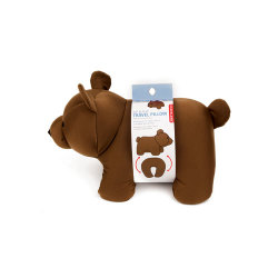 "Bear Zip & Flip Travel Pillow ""Brown"""