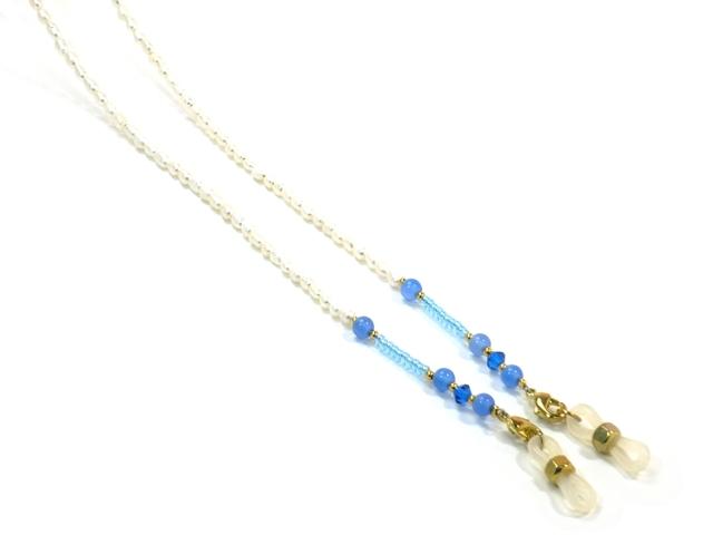 パール&天然石チェーン03209001 ゴールド金具 ブルー