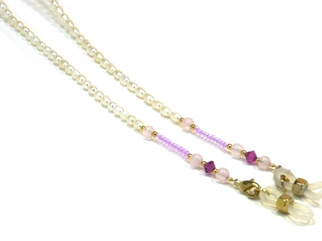 パール&天然石チェーン03209001 ゴールド金具 ピンク