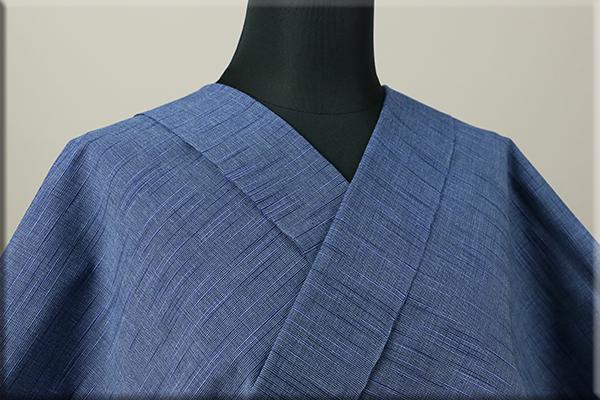 出羽木綿 オーダーお仕立付き 洗える普段着着物 上杉藩 無地 青01  ◆男女兼用◆.