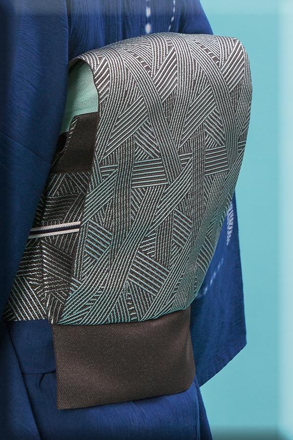 5−9きもの 博多織 八寸名古屋帯 トラフィックジャム チャコール 西村織物