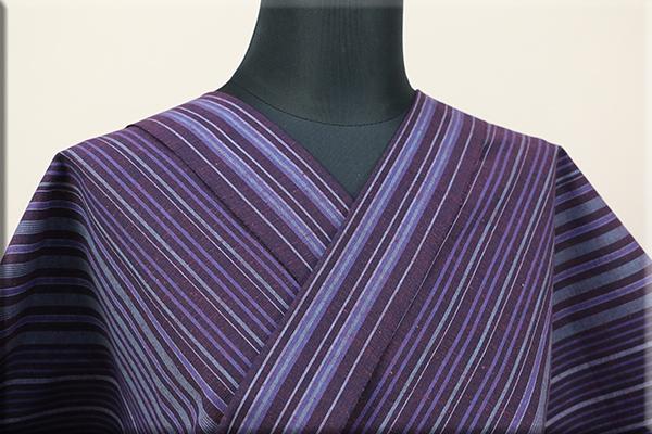 遠州木綿 木綿着物 オーダーお仕立て付き 変わり縞 s-01- 紫YUKARI  ◆男女兼用◆
