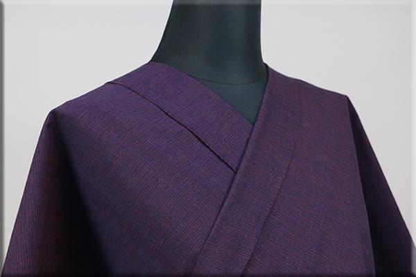 三河木綿 オーダーお仕立付き 洗える普段着着物  中厚地 かすみ 紺x赤紫 No.48-15 ◆男女兼用◆