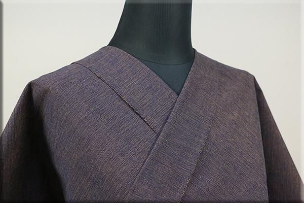 三河木綿 オーダーお仕立付き 洗える普段着着物  中厚地 かすみ 紺x茶 No.48-11 ◆男女兼用◆