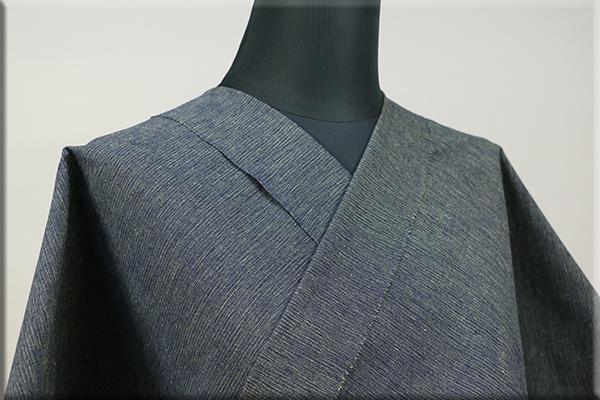 三河木綿 オーダーお仕立付き 洗える普段着着物  中厚地 かすみ 紺x黄x緑 No.48-05 ◆男女兼用◆