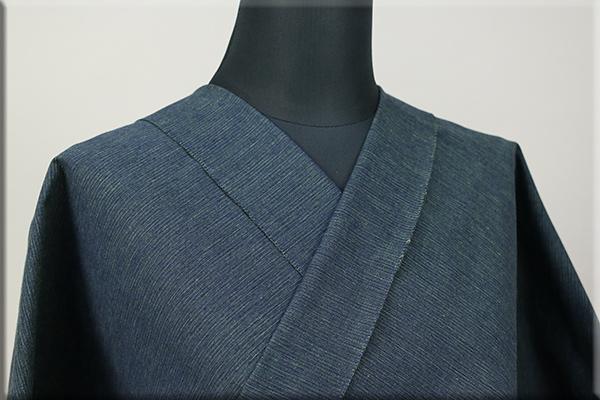 三河木綿 オーダーお仕立付き 洗える普段着着物  中厚地 かすみ 紺x緑 No.48-04 ◆男女兼用◆