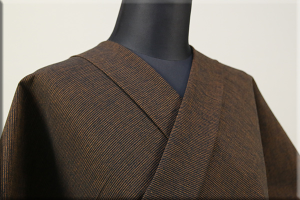 三河木綿 オーダーお仕立付き 洗える普段着着物  中厚地 かすみ 黒x茶 No.48-43 ◆男女兼用◆