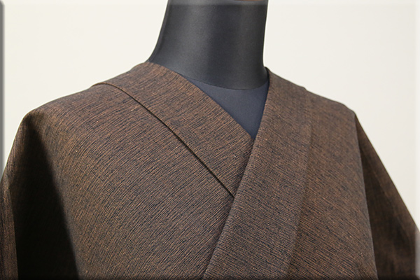 三河木綿 オーダーお仕立付き 洗える普段着着物  中厚地 かすみ 黒x茶 No.48-44 ◆男女兼用◆