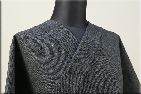 三河木綿 オーダーお仕立付き 洗える普段着着物  中厚地 かすみ 黒x白 No.48-35 ◆男女兼用◆