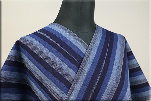 片貝木綿 紺仁工房 木綿着物 オーダーお仕立て付き 普段着きもの 縞 青 ◆男女兼用◆.