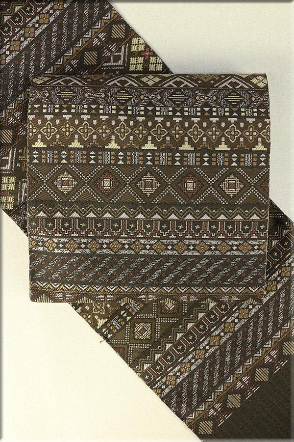 枡屋儀兵衛 正絹 八寸名古屋帯 お仕立て付き アラベスク風 黄茶