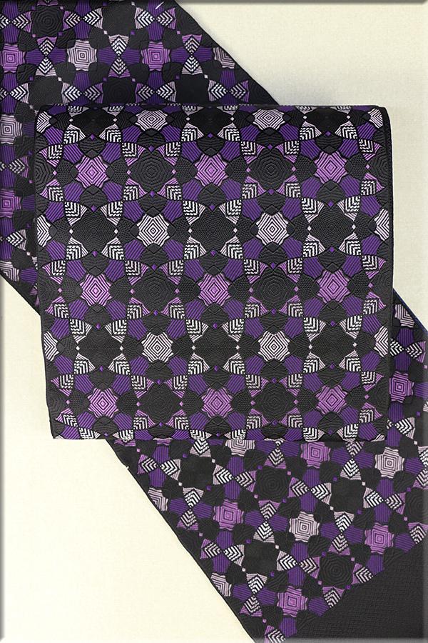 博多織 正絹 八寸名古屋帯 お仕立て付き 幾何学模様 黒x紫