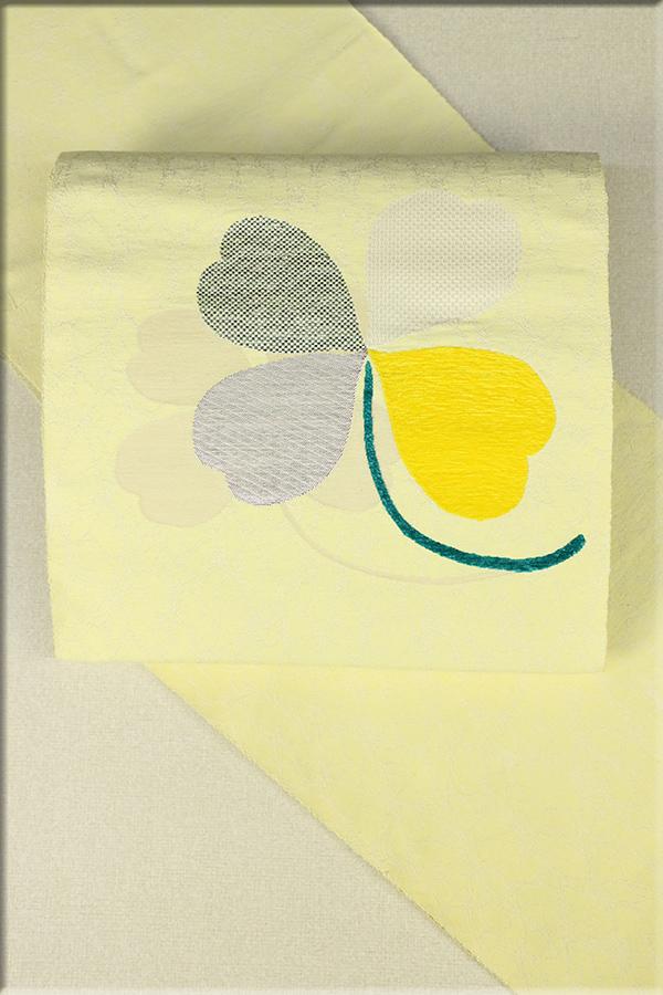 西陣織 正絹 八寸名古屋帯 お仕立て付き クローバー 黄