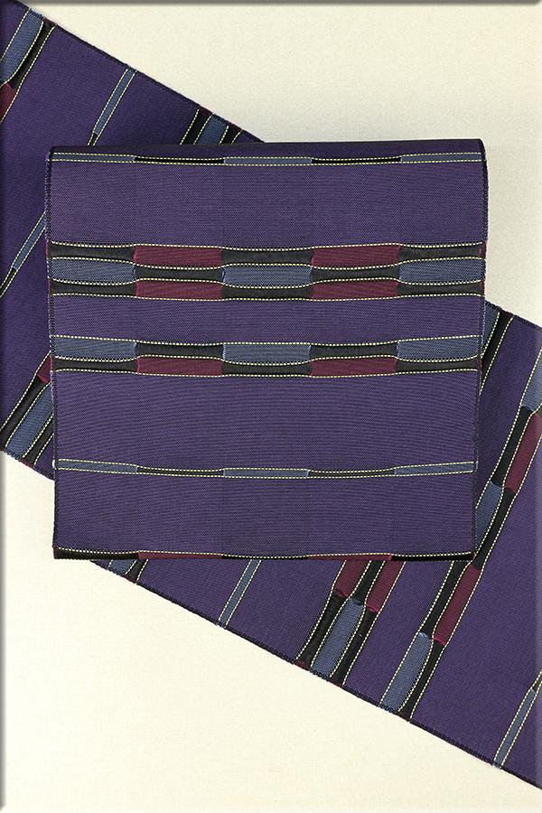 近賢織物 正絹 紙糸 八寸名古屋帯 お仕立て付き 波のしらべ 紫