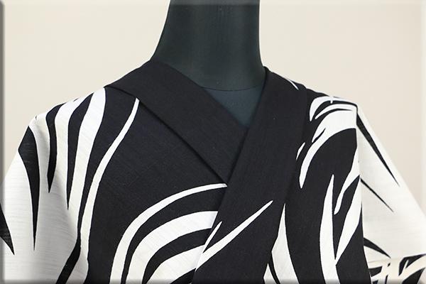 Kimono Factory nono 浴衣(ゆかた) 綿麻 オーダー仕立て付き 浴衣影 白x黒 ◆男女兼用◆