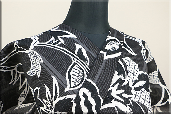 Kimono Factory nono 浴衣(ゆかた) 綿麻 オーダー仕立て付き 誘い 黒 ◆男女兼用◆