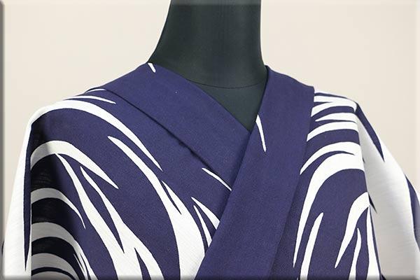 Kimono Factory nono 浴衣(ゆかた) 綿麻 オーダー仕立て付き 浴衣影 紺x白 ◆男女兼用◆