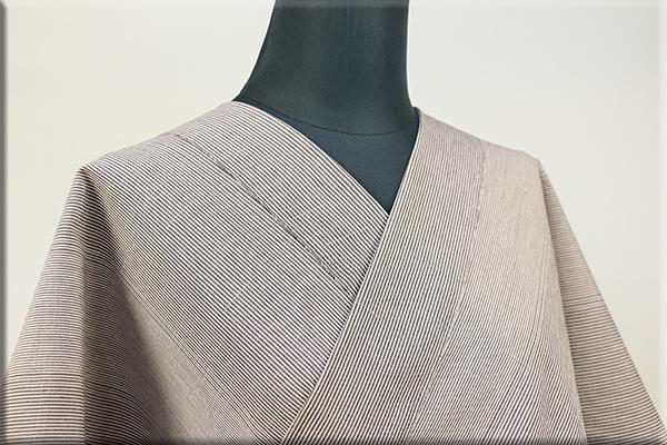 羽州綿紬 木綿着物 オーダーお仕立て付き 縞 茶 No.1 ◆男女兼用◆