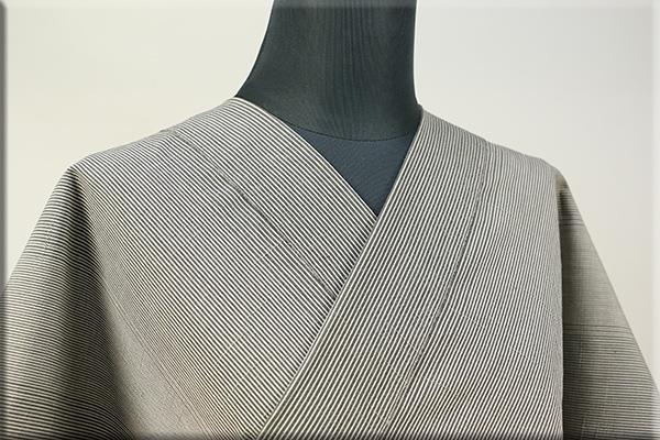 羽州綿紬 木綿着物 オーダーお仕立て付き 縞 緑 No.5 ◆男女兼用◆.