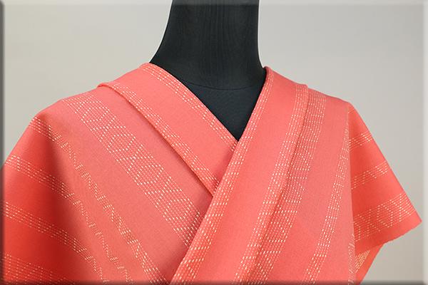 ウール着物 オーダーお仕立て付き 六〇双糸 刺し子 暖かい普段着きもの オレンジ ◆男女兼用◆