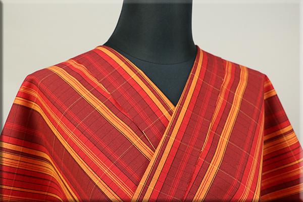 ウール着物 オーダーお仕立て付き 六〇双糸 ストライプ 暖かい普段着きもの 赤 ◆男女兼用◆