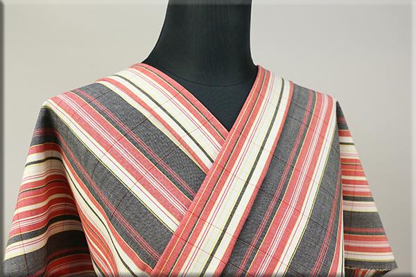 ウール着物 オーダーお仕立て付き 六〇双糸 ストライプ 暖かい普段着きもの 白x灰x赤 ◆男女兼用◆