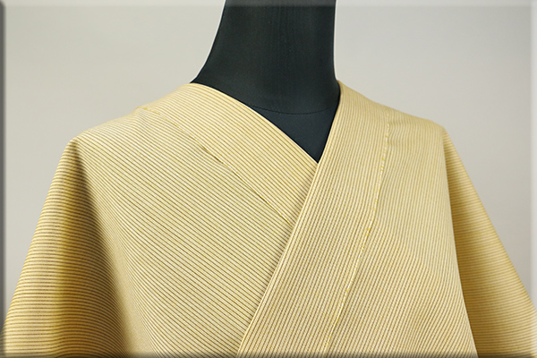 ウール着物 オーダーお仕立て付き 六〇双糸 暖かい普段着きもの 黄 ストライプ ◆女性にオススメ◆