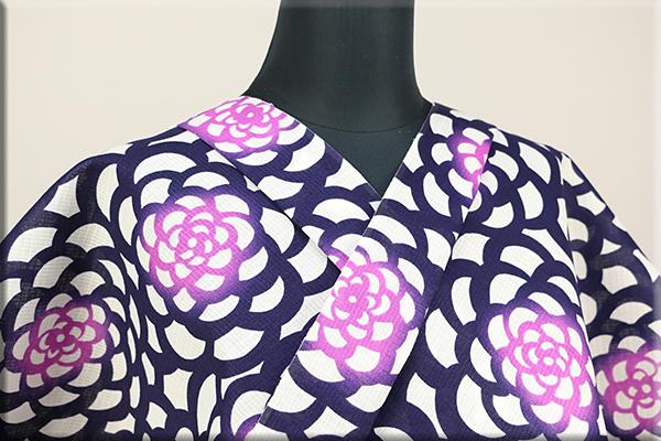 浴衣(ゆかた) 綿紅梅 オーダー仕立て付き 花 紫 ◆女性にオススメ◆