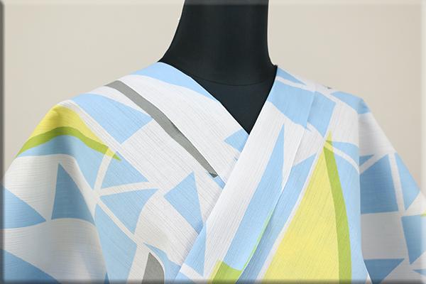 浴衣(ゆかた) 注染(細川染) 綿麻 オーダー仕立て付き 幾何学模様 水色 ◆男女兼用◆