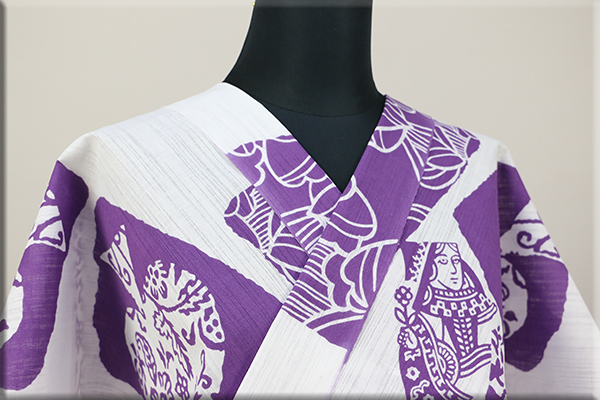 Rumi Rock(ルミロック)浴衣(ゆかた) 綿麻 オーダー仕立て付き トランプ 白 ◆男女兼用◆
