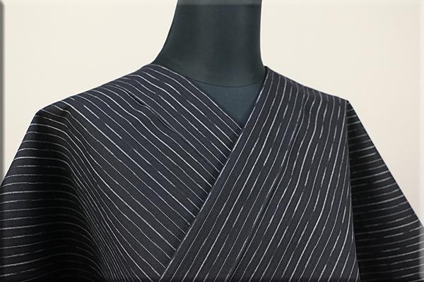浴衣(ゆかた) 綿麻 オーダー仕立て付き ストライプ 黒 ◆男女兼用◆