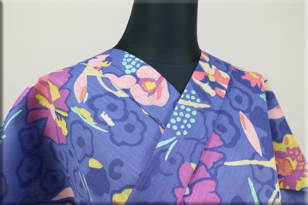ツモリチサト浴衣(ゆかた) オーダー仕立て付き 花と踊り 紺  ◆女性にオススメ◆