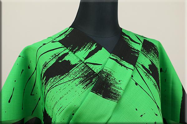 JUNKO KOSHINO浴衣(ゆかた) オーダー仕立て付き セオα 緑 冴26 ◆女性にオススメ◆