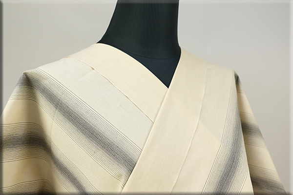 遠州木綿 木綿着物 オーダーお仕立て付き 六◯双糸 雅三ツ縞 象牙 ZOUGE ◆男女兼用◆
