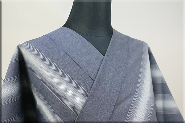 遠州木綿 木綿着物 オーダーお仕立て付き 六◯双糸 雅三ツ縞 グレー ◆男女兼用◆