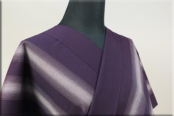 遠州木綿 木綿着物 オーダーお仕立て付き 六◯双糸 雅三ツ縞 紫 ◆男女兼用◆
