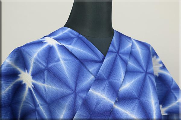 雪花絞浴衣(ゆかた) 綿麻 オーダー仕立て付き 藤井絞 青 ◆男女兼用◆