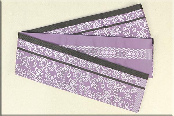 西村織物謹製 KIMONO MODERNコラボ商品 博多織 正絹半幅帯 かがり仕立付 帯-薔薇-Ros 絹100% 紫