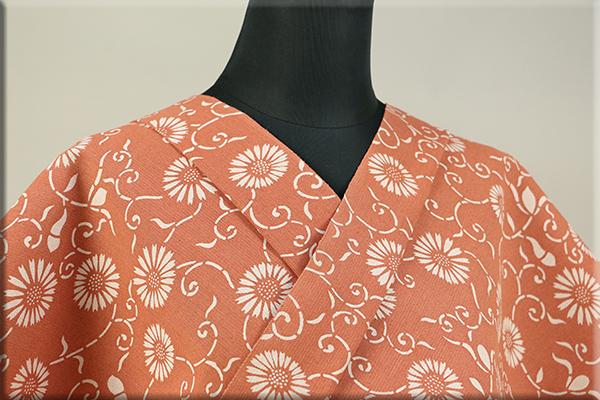 片貝木綿 紺仁工房 木綿着物 オーダーお仕立て付き 普段着きもの ベンガラ染 菊とツタ オレンジ