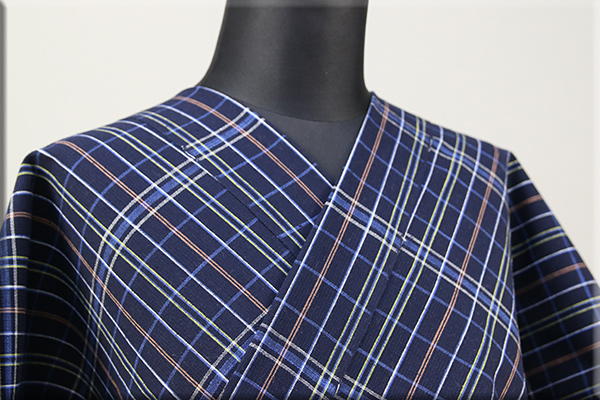 片貝木綿 紺仁工房 木綿着物 オーダーお仕立て付き 普段着きもの チェック 紺 ◆男女兼用◆