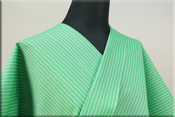 KIPPE(きっぺ) よねざわもめん オーダーお仕立て付き 縞 緑 ◆男女兼用◆