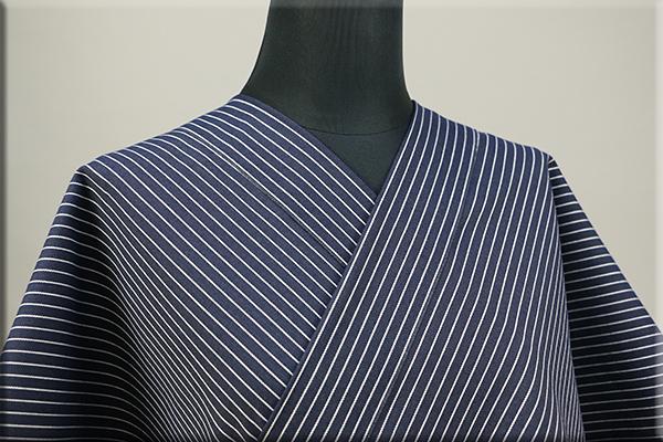 KIPPE(きっぺ) よねざわもめん オーダーお仕立て付き 縞 濃紺 ◆男女兼用◆