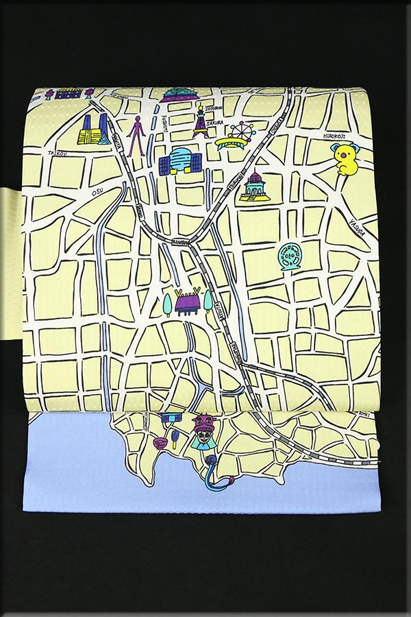 あづまやオリジナル 正絹 名古屋の名古屋帯 地図柄 クリーム