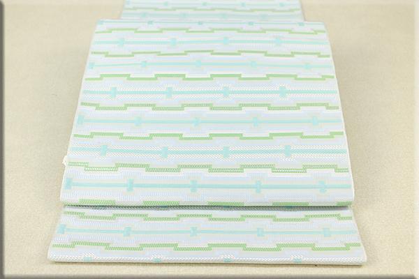 博多帯 正絹 八寸名古屋帯 全通 お仕立付き 幾何学模様 白x緑x水色