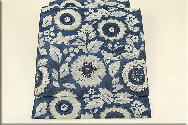 西村織物 博多織 八寸名古屋帯 全通 鳥と草花 お仕立て付き 紺